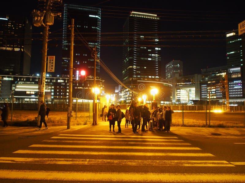 Umeda Japan för nattljusgata lopp royaltyfri foto