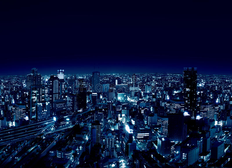 Umeda - Osaka-Stadt bis zum Night stockfoto
