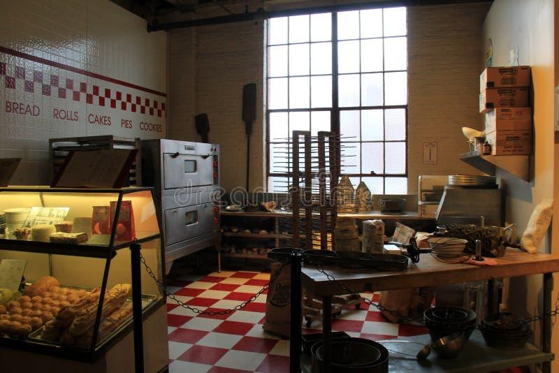 Umfangreiche Sammlung Bäckereieinzelteile angefangen in Maryland, ausgestellt im Museum der Industrie, Baltimore, 2017 lizenzfreie stockfotografie
