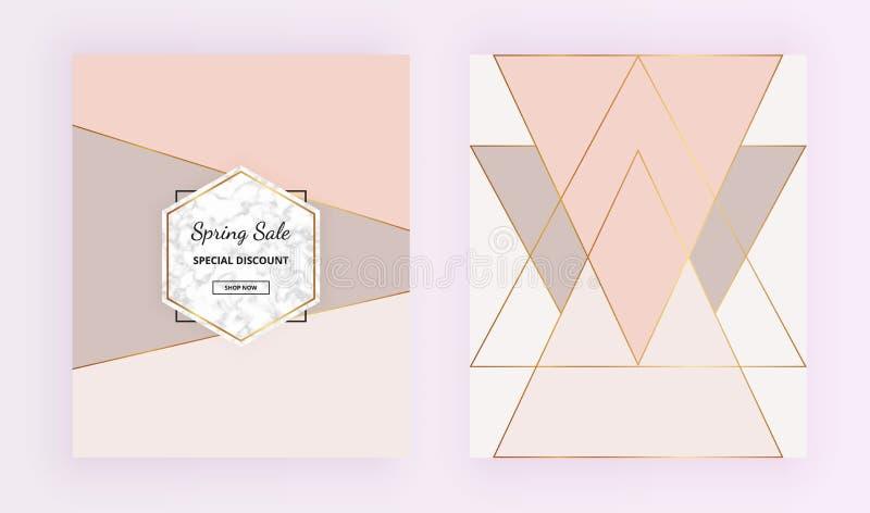 Umfassen Sie geometrische Designe mit Marmorsteinbeschaffenheit, Golddreiecke, Pastellrosa, Graufarbhintergrund Modische Schablon vektor abbildung