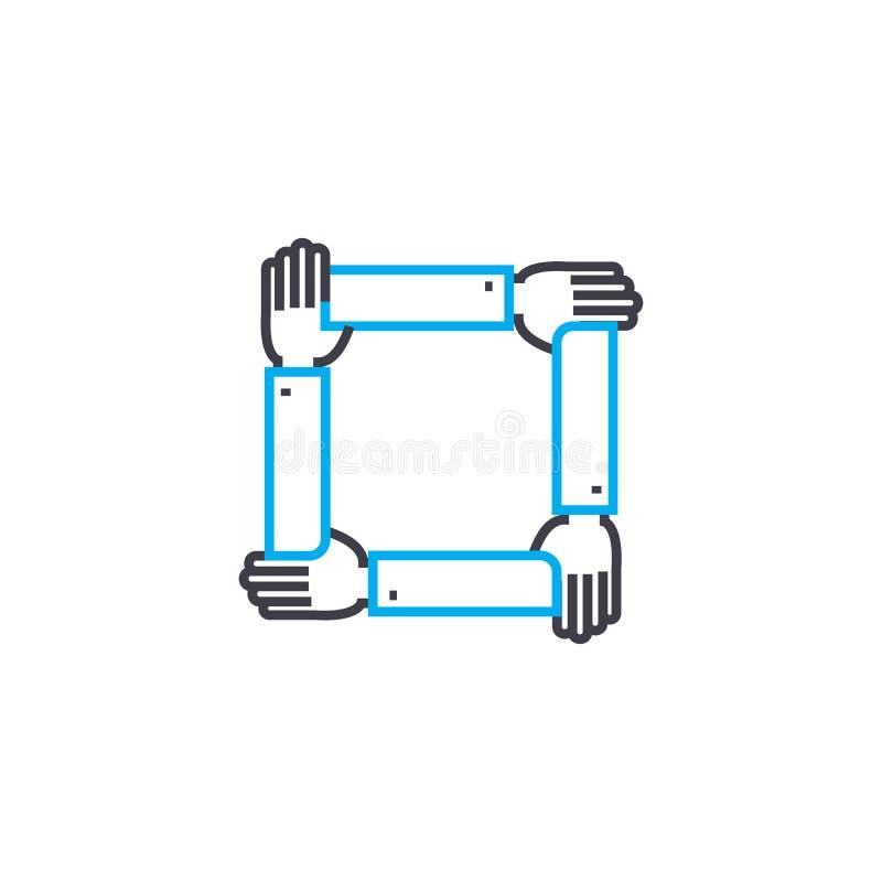 Umfassende Stützlineares Ikonenkonzept Umfassende Deckungslinie Vektorzeichen, Symbol, Illustration vektor abbildung