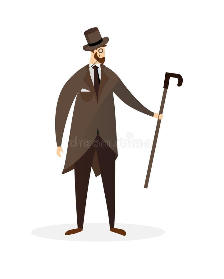 Umgearbeiteter Dandy Cartoon Character Stolzer Herr stock abbildung