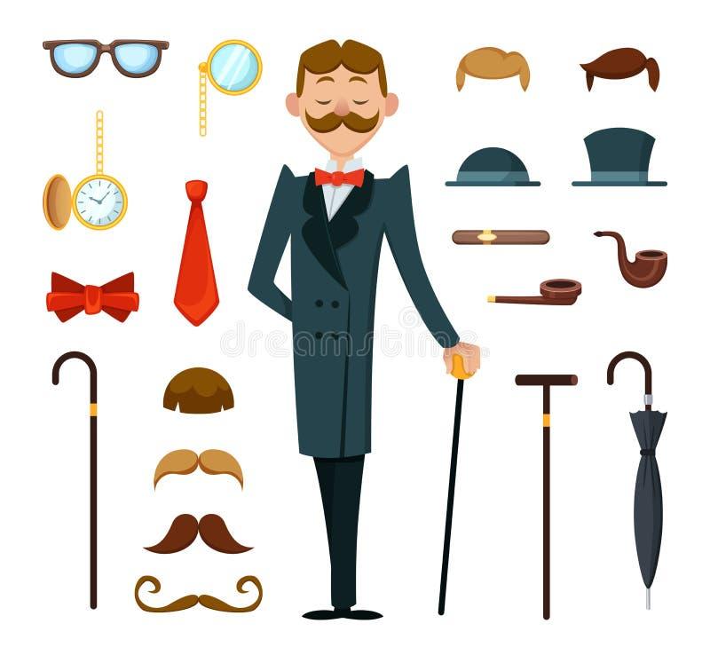 Umgearbeiteter Retro- Herr mit unterschiedlichem Zubehör der Victorianart Schaffungsmaskottchenausrüstung stock abbildung
