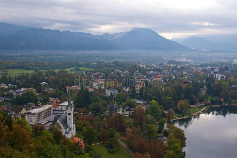Umgebungen um ausgebluteten See in Slowenien stockbild