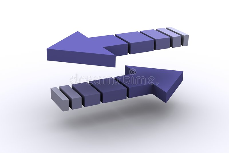 Umgekehrte Pfeile stock abbildung