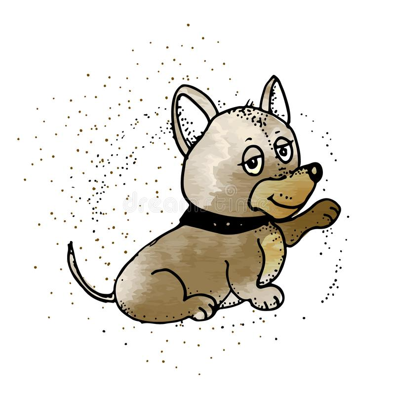 Umgekippt wenig Schoßhund-Welpe Emoji-Karikatur-Illustration stock abbildung