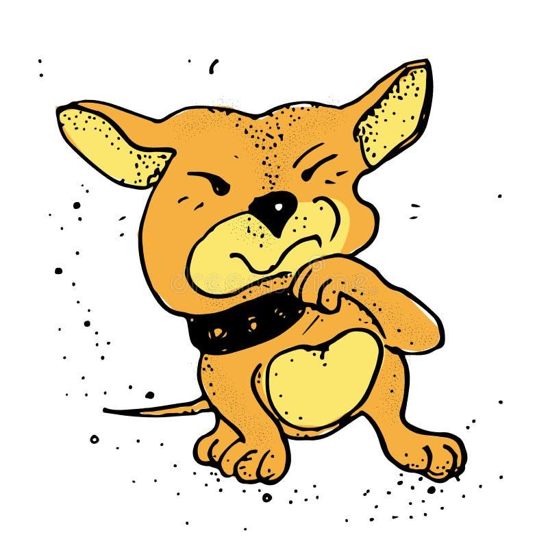 Umgekippt wenig Schoßhund-Welpe Emoji-Karikatur-Illustration Plakat, T-Shirt Zusammensetzung, handgemachter Druck stock abbildung
