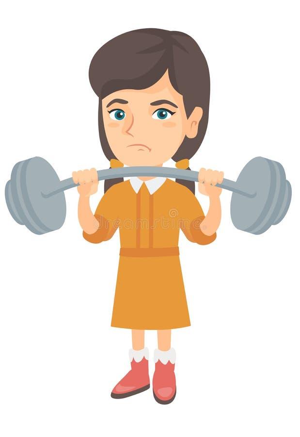Umgekipptes kaukasisches Mädchen, das Schwergewichts- Barbell anhebt stock abbildung