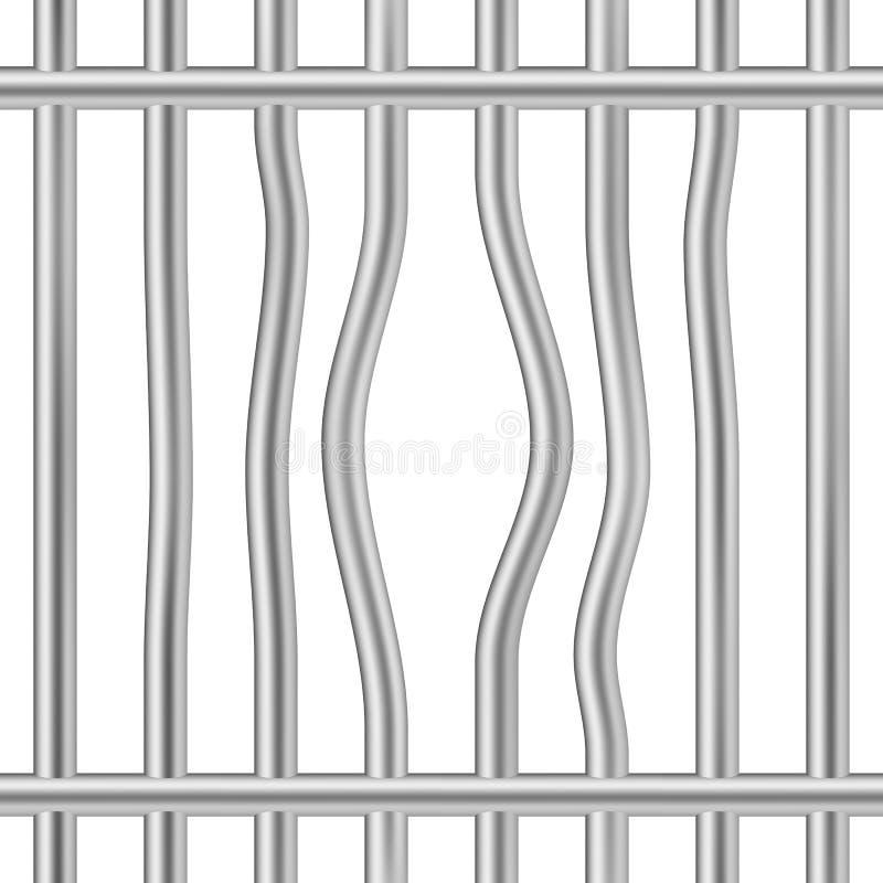 Umgeschnallter Gefängnisstangenkäfig Defekter Eisengefängniszellvektor stock abbildung