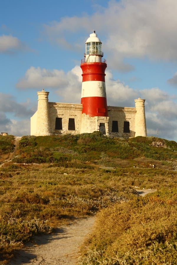 Umhang Agulhas Leuchtturm, Südafrika stockfoto