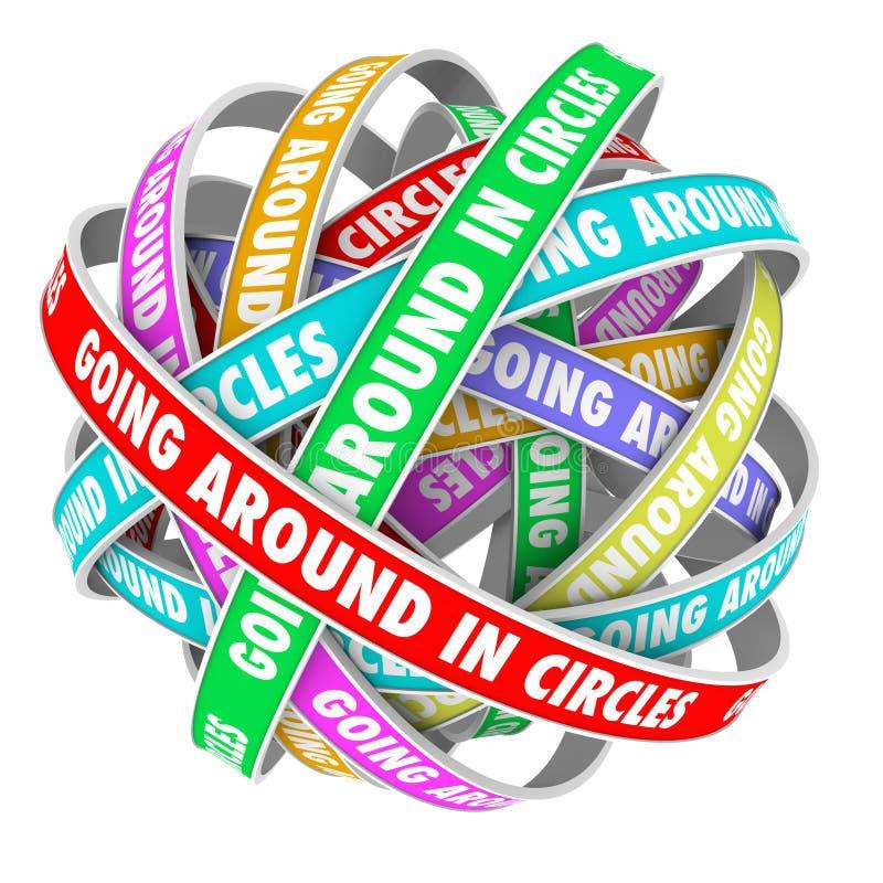 Umhergehen in Kreis-Wörter auf Kreis-Bändern lizenzfreie abbildung