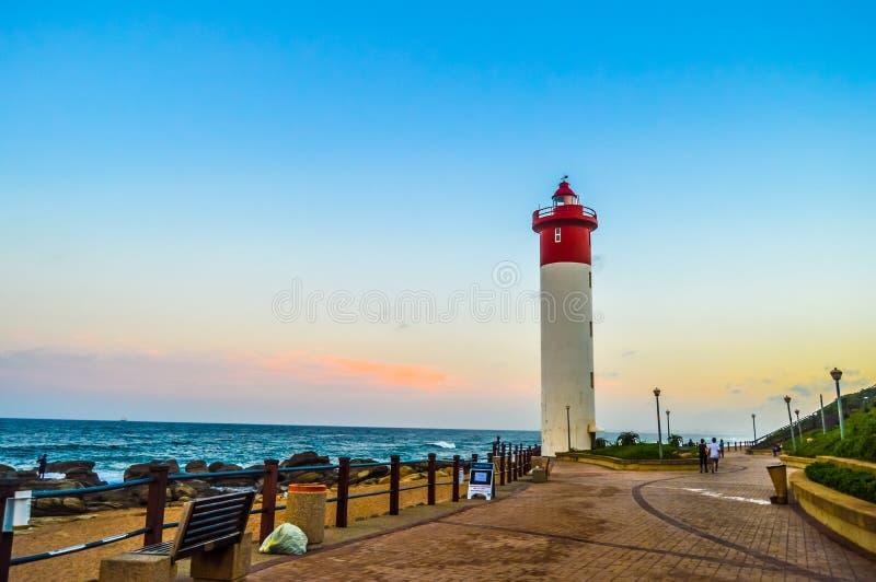 Umhlanga latarnia morska jeden świat ikonowe latarnie morskie w Durban północy KZN Południowa Afryka zdjęcia stock