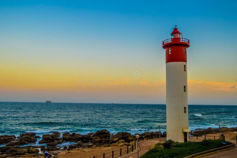 Umhlanga latarnia morska jeden świat ikonowe latarnie morskie w Durban północy KZN Południowa Afryka obraz royalty free