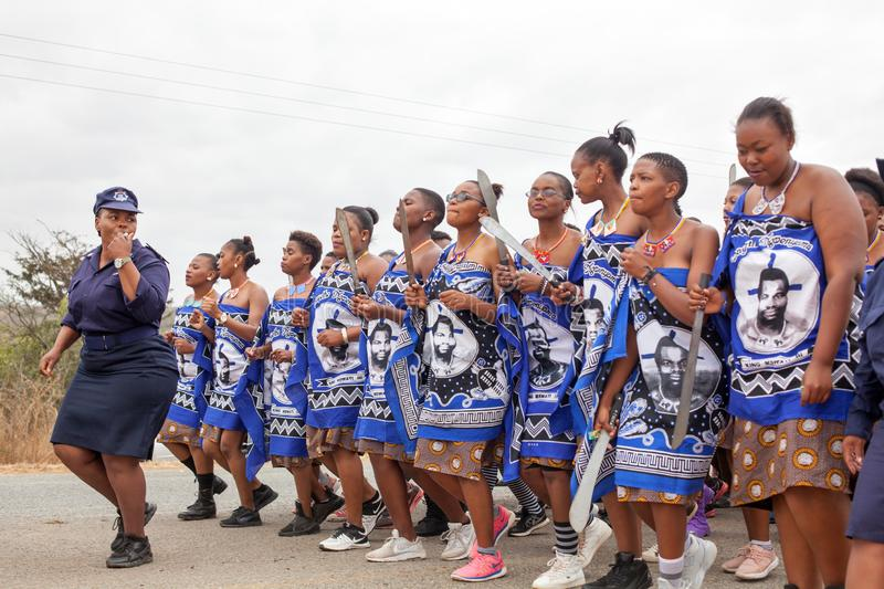 Umhlanga Reed Dance ceremony, annual traditional national rite, one of eight days celebration, young virgin girls with big knives stock images