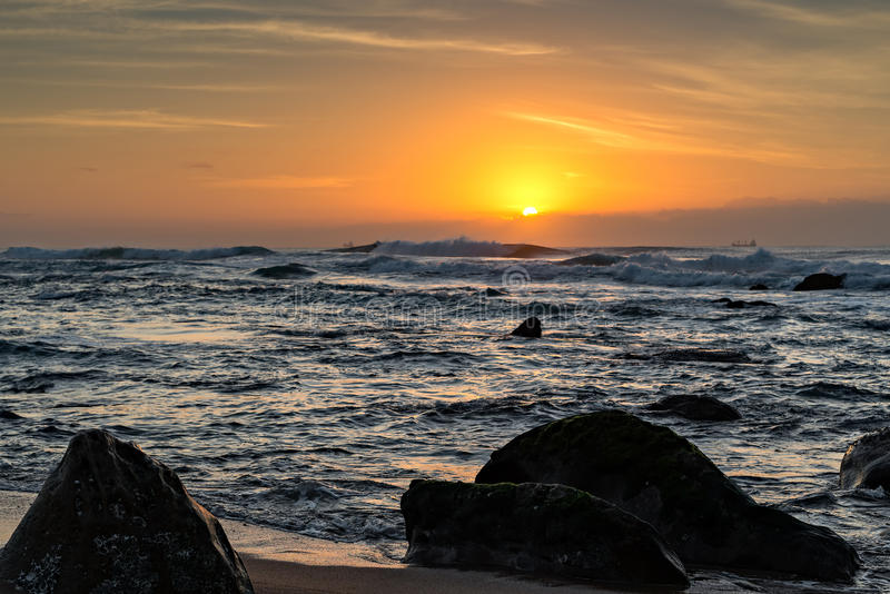 Umhlanga Rocks Beach at Sunrise royalty free stock image