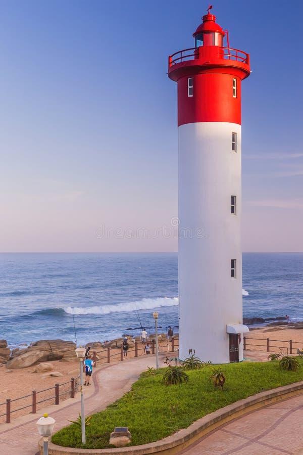 Umhlanga skały, Południowa Afryka, 2016, Sierpień 30: Latarnia morska na plaży zdjęcia royalty free