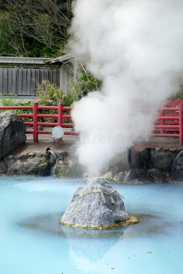 Umi Jigoku or Sea hell in Beppu, Oita, Japan is one of the most beautiful hells, the `sea hell` features a pond of boiling. Blue water stock image