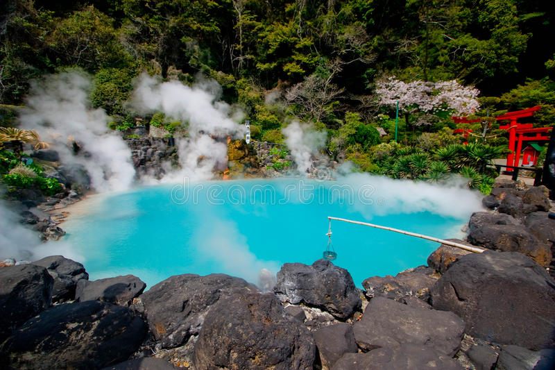 Umi Jigoku Sea Hell. Is one of the tourist attractions representing the various hells at Beppu, featuring a pond of egg boiling, blue water. One of the eight stock image