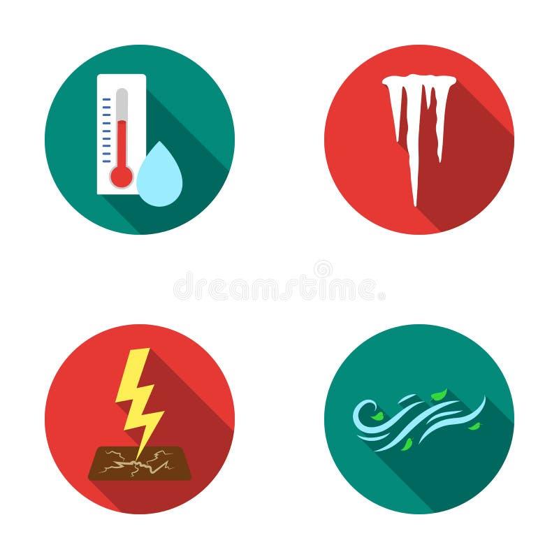 Umidade, sincelos, raio, tempo ventoso Os ícones ajustados da coleção do tempo no estilo liso vector o estoque do símbolo ilustração royalty free