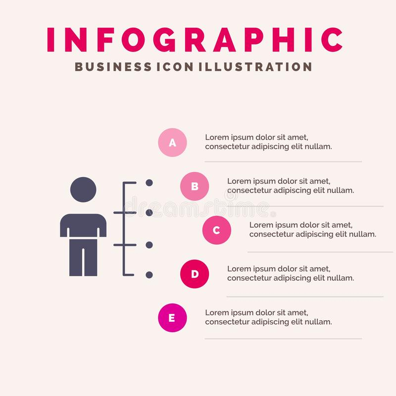 Umiejętności, zdolność, pracownik, istota ludzka, mężczyzna, ludzie Stałego ikony Infographics 5 kroków prezentacji tła royalty ilustracja