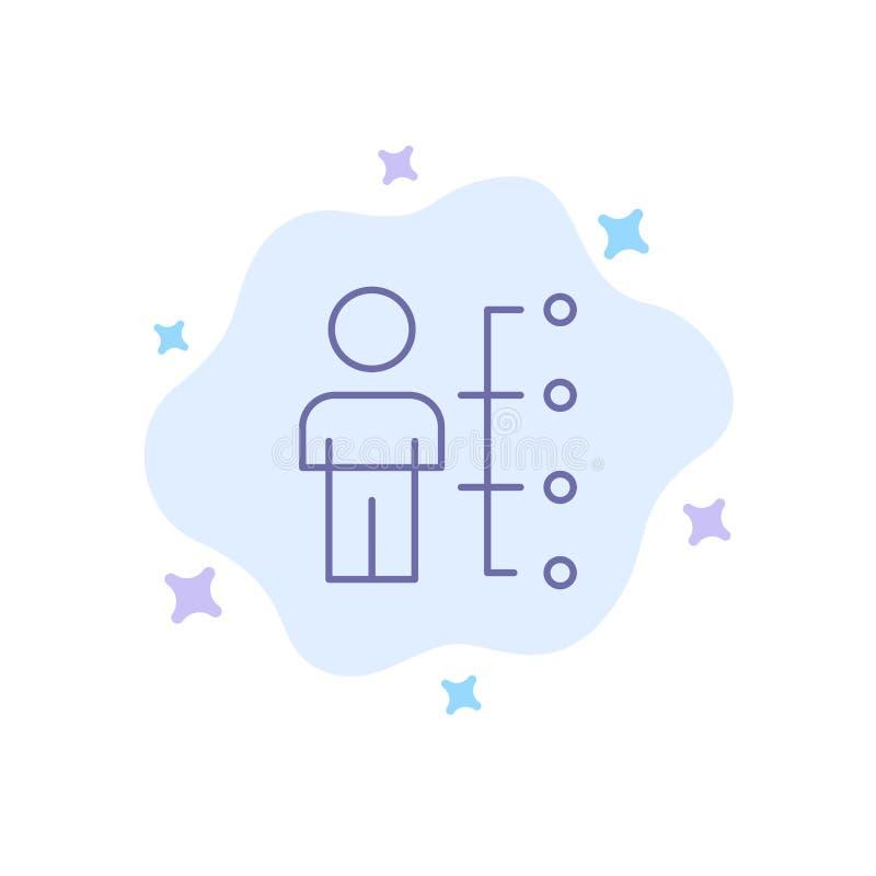 Umiejętności, zdolność, pracownik, istota ludzka, mężczyzna, Zaludniają Błękitną ikonę na abstrakt chmury tle royalty ilustracja