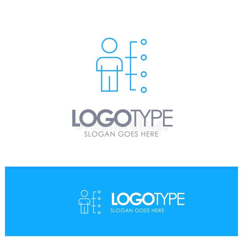 Umiejętności, zdolność, pracownik, istota ludzka, mężczyzna, Zaludniają Błękitnego konturu logo z miejscem dla tagline ilustracja wektor