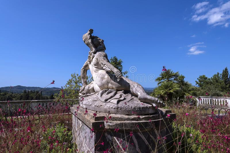 Umierający Achilles na tarasie przy Achilleion pałac na wyspie Corfu Grecja budował imperatorową Elizabeth Austria Sissi zdjęcie stock