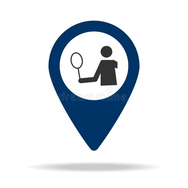 umieszcza tenisowego sądu w błękitnej mapy szpilki ikonie Element mapa punkt dla mobilnych pojęcia i sieci apps ikona dla strona  ilustracja wektor