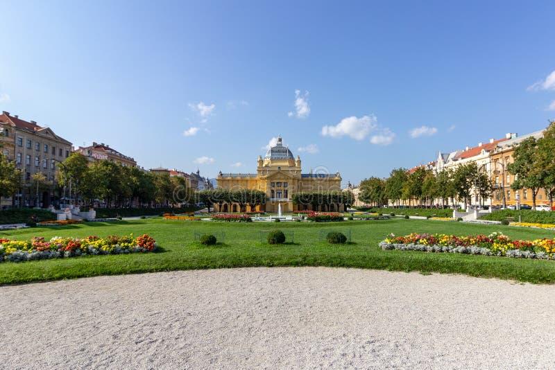 Umjetnicki paviljon - kunstpaviljoen in Zagreb, Kroatië stock foto's