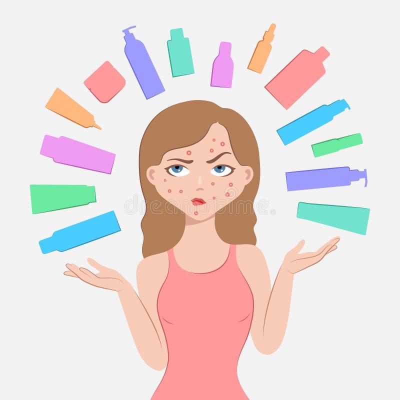 Umkippenmädchen und -kosmetik für Problemhaut lizenzfreie abbildung