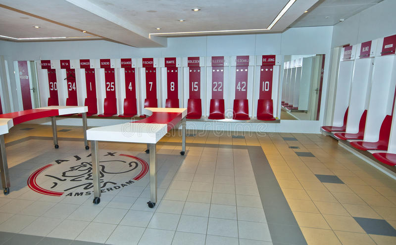 Umkleidekabine Ajax FC stockbilder