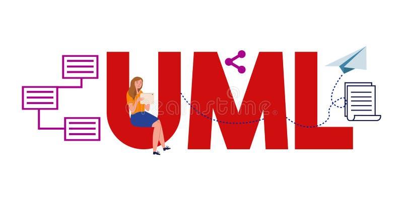 UML Unified Modeling Language. System flow visual communication documentation. Vector illustration stock illustration
