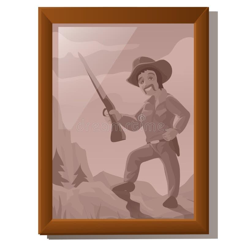 Ummauern Sie Bild im Rahmen, Porträt des amerikanischen Jägers lizenzfreies stockfoto