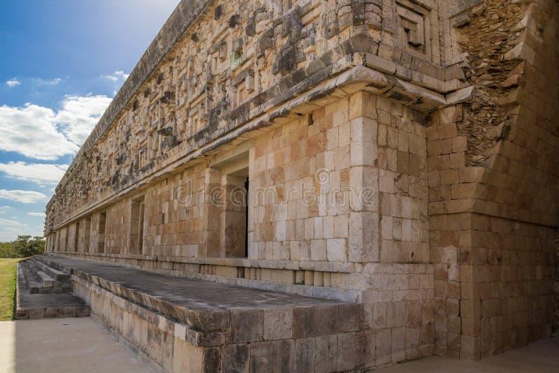 Ummauern Sie Details in Uxmal - alte Maya Architecture Archeological Site in Yucatan, Mexiko lizenzfreies stockbild