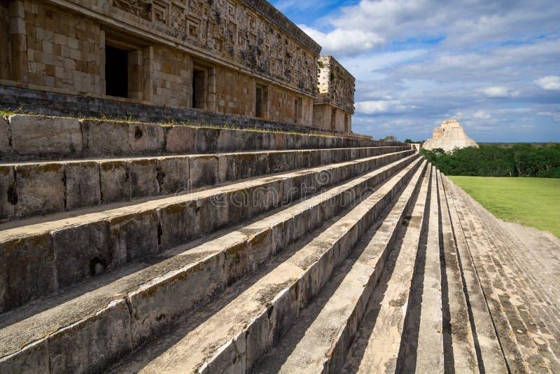 Ummauern Sie Details in Uxmal - alte Maya Architecture Archeological Site in Yucatan, Mexiko stockbild