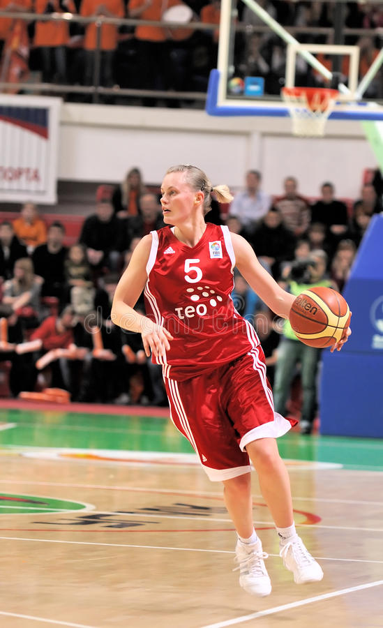 UMMC gegen TEO. Frauenbasketball Euroleague 2009-2010 stockfotografie