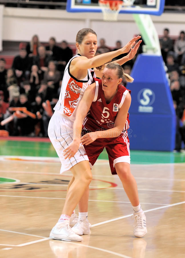UMMC gegen TEO. Frauenbasketball Euroleague 2009-2010 stockbild