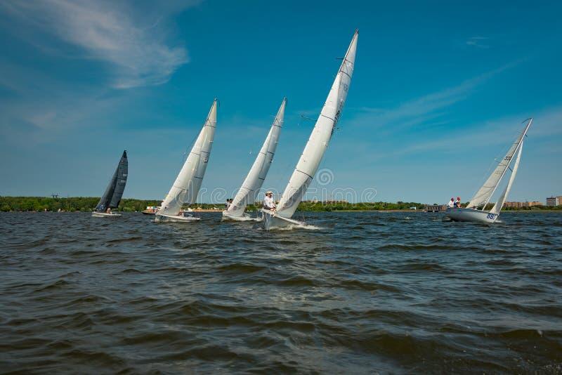 Umore di estate: vele bianche contro il cielo blu fotografia stock