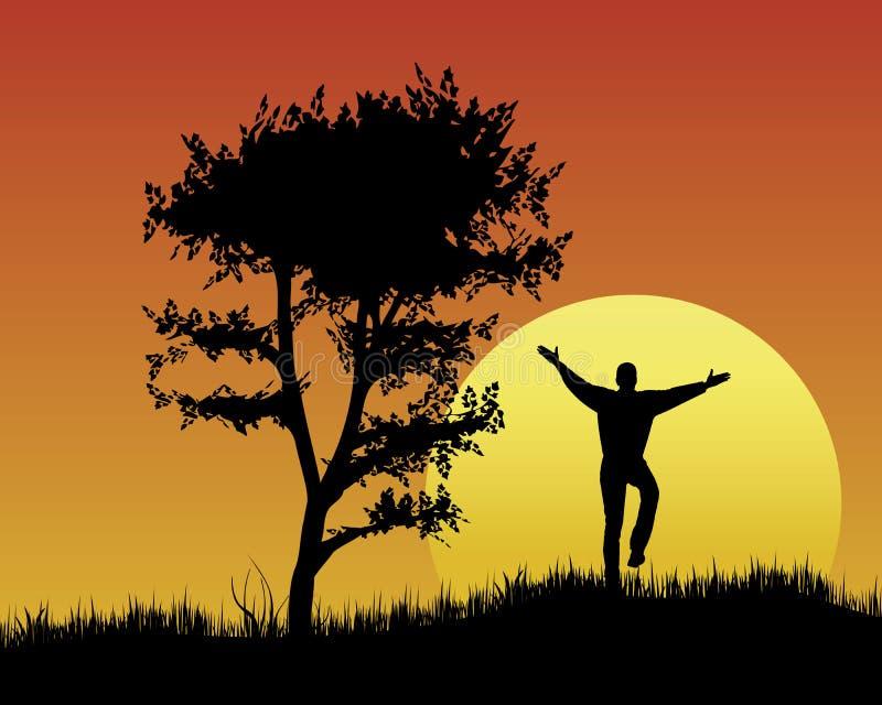 Umore di festa al tramonto illustrazione di stock