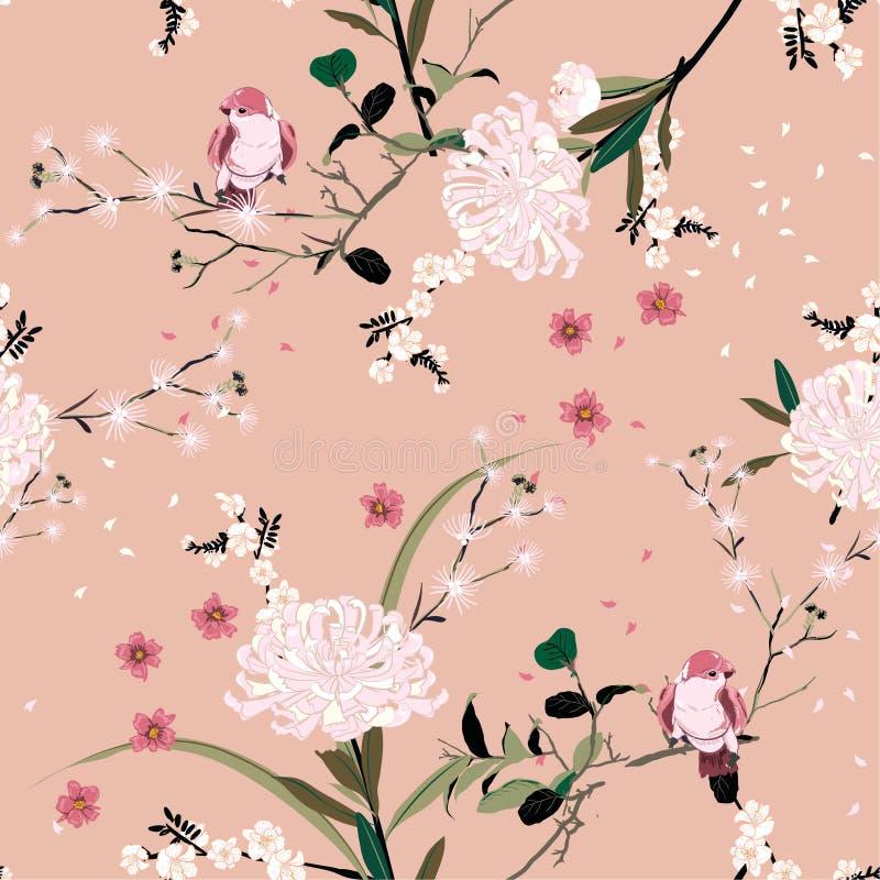 Umore dolce del fiore orientale del giardino con la fioritura botanica e la progettazione senza cuciture floreale di vettore del  royalty illustrazione gratis