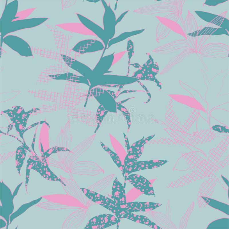 Umore dolce pastello delle piante botaniche del silhouete riempire di linea modello disegnato a mano senza cuciture nella progett illustrazione di stock