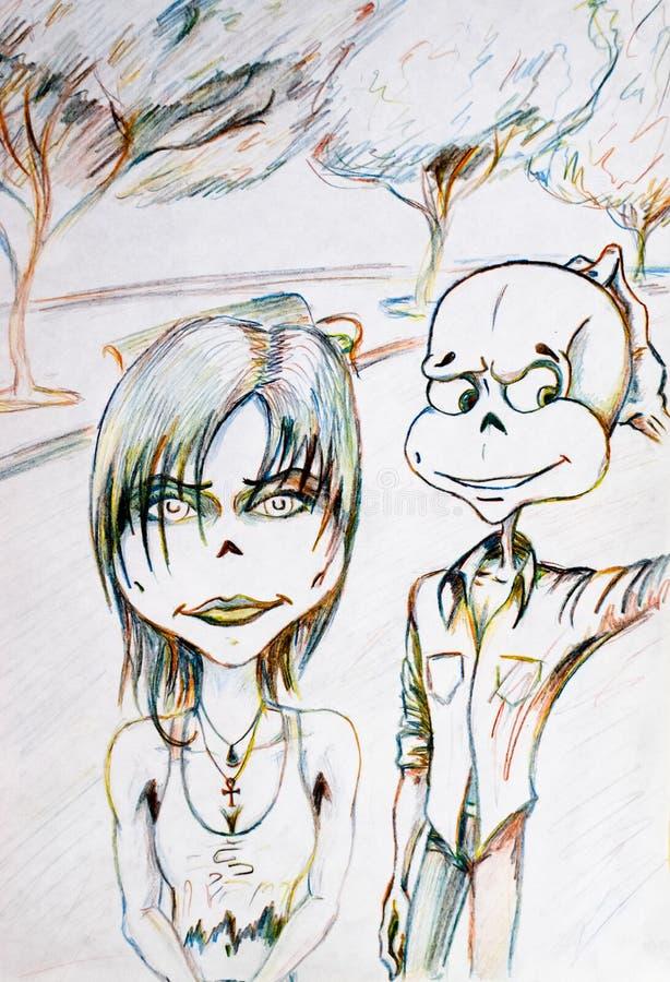 Umorik gick på ett datum med en flicka och går till och med parkerar Dra med kulöra blyertspennor stock illustrationer