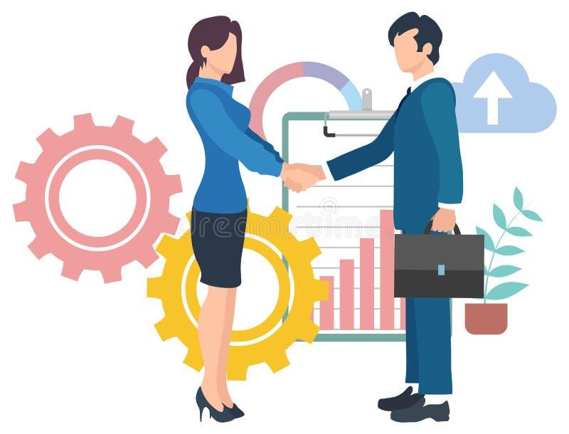 Umowa biznesowa, wektor uzgadniania wiodącego ilustracja wektor