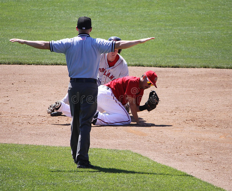 Download The umpire signals safe editorial stock photo. Image of game - 25108993