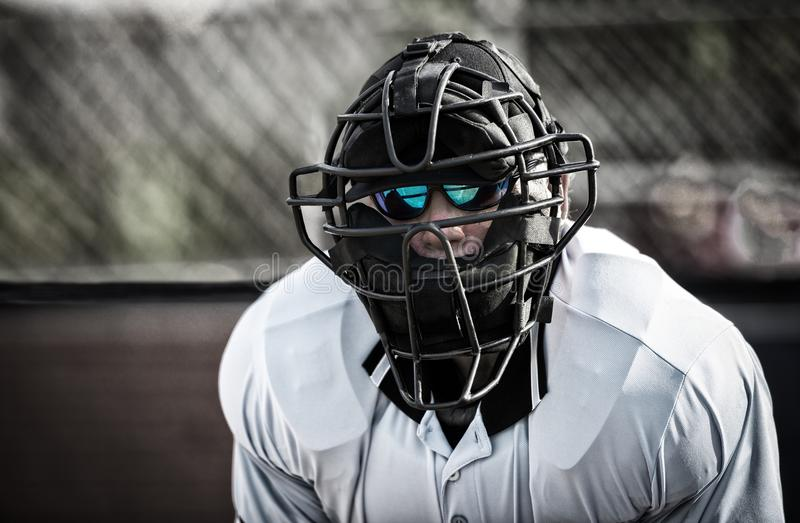 Umpire in sunglasses behind home plate royalty free stock image