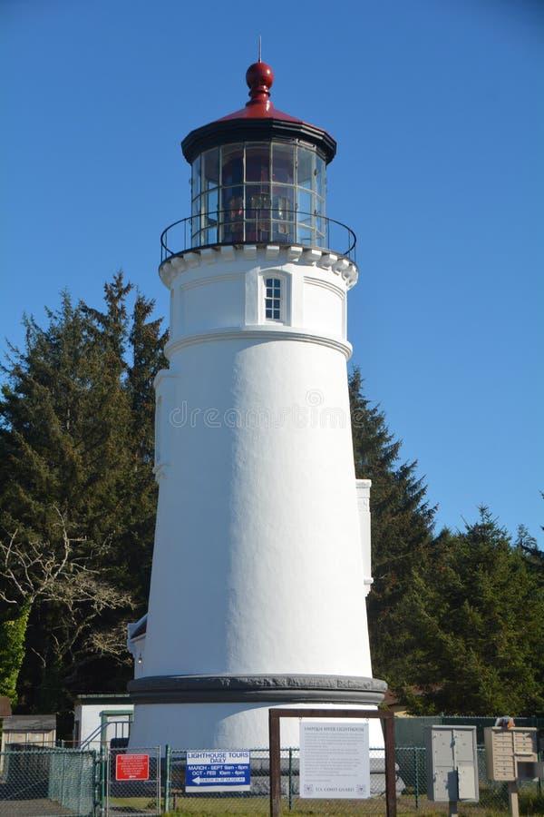 Winchester Bay`s Umpqua Lighthouse on the Oregon Coast. The Umpqua River Lighthouse towers above the entrance to Winchester Bay. The 65-foot tower contains a stock photo