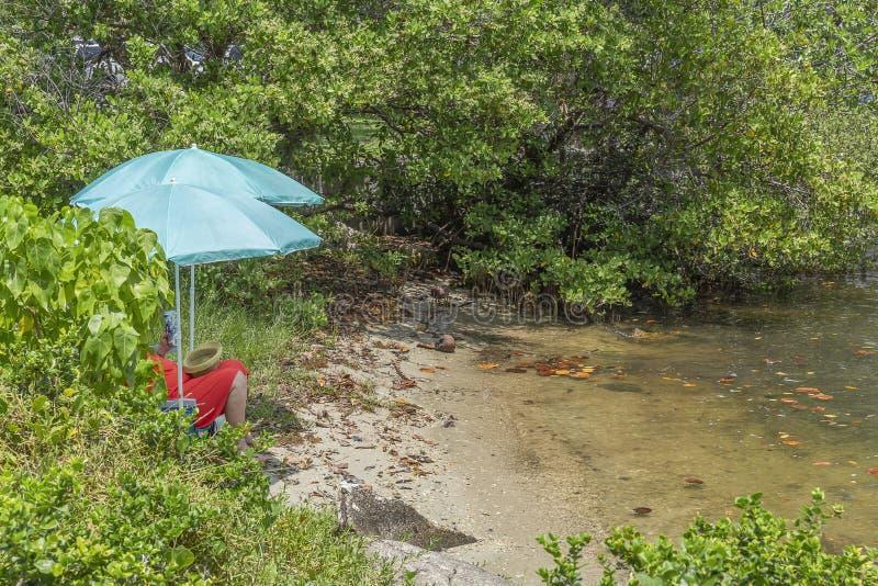 Umranden reife Frauensätze auf dem Wasser unter den Knickentenstrandschirmen, die ein orangerotes Sommerkleid am See tragen lizenzfreie stockfotos