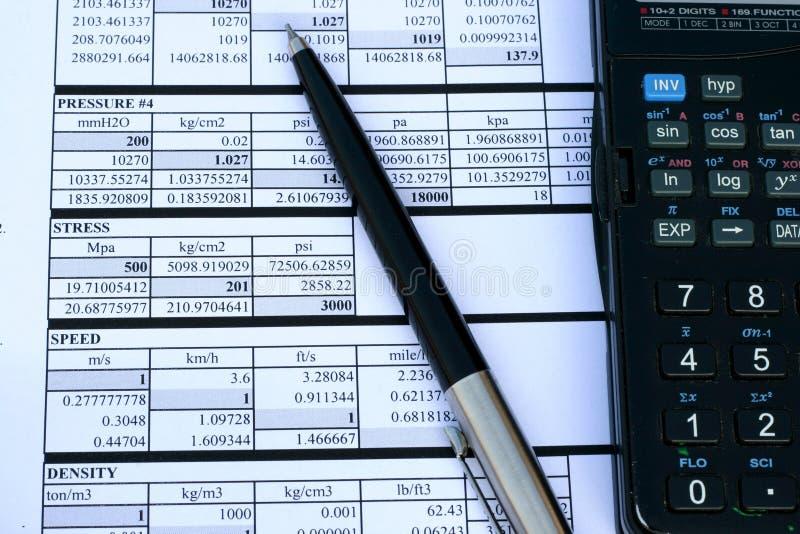 Umrechnungsfaktor-Tabelle stockbild