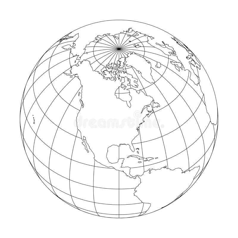 Umreißen Sie Erdkugel mit der Karte der Welt gerichtet auf Nordamerika Auch im corel abgehobenen Betrag vektor abbildung