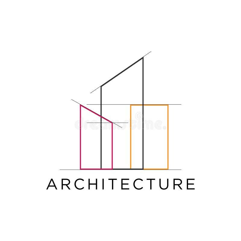 Umreißen Sie Immobilien-Gebäudelogo der Architektur mit Gitterlinie lizenzfreie abbildung